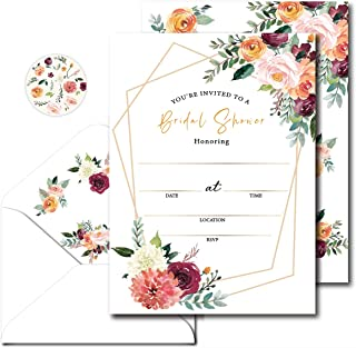 Avamie Bridal Shower Invitations With Envelopes, 20 Invites with 20 Envelopes and 20 Matchin Stickers, 5x7 inch Bridal Sho...