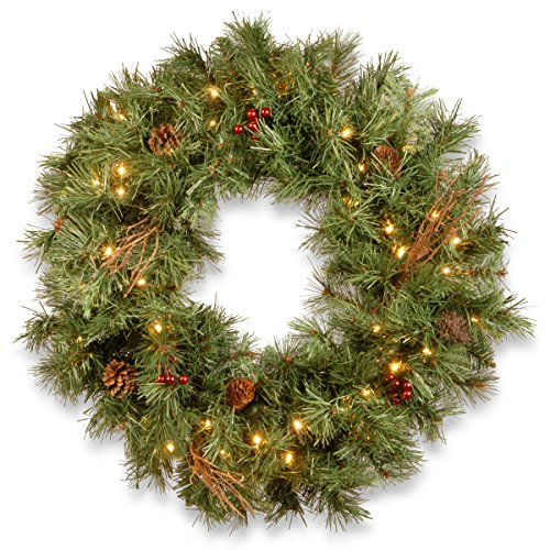 National Tree Company lit Artificial Christmas Wreath Flocked with Mixed Decorations and Pre-Strung White LED Lights Glistening Pine-30 Inch