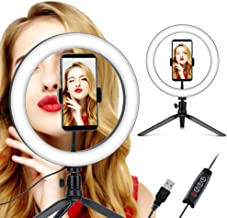 10'' Desktop Ring Light with Tripod Stand & Phone Holder for Live Streaming/Makeup/YouTube Video/Selfie, 3 Lighting Colors & Dimmable 10 Brightness with USB Powered