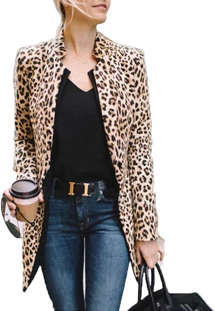 Women Leopard Under blast sales Print Sales Long Sleeve Cardigan Jacket Coat Open Front
