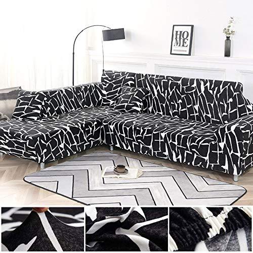 Juego de Fundas geométricas para sofá, Funda elástica para sofá para Sala de Estar, Apto para sofá de Esquina Chaise Longue A13, 1 Plaza