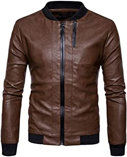YXHM A Men's Leather Jacket Casual Baseball Jacket Retro Leather Jacket Stand Collar Leather Jacket (Color : Khaki, Size : M)