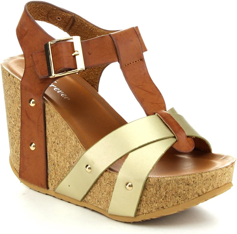 Forever Maya-13 Women's Adjustable T-Strap Wedge Heel Platform Sandals,Tan gold,8.5