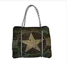 Neoprene Multipurpose Beach Bag Tote Bags,Camo,Grunge Dusty Dirty Design with a Star in Circle Undercover War Theme,Army Green Beige Dark Brown,Women Casual Handbag Tote Bags