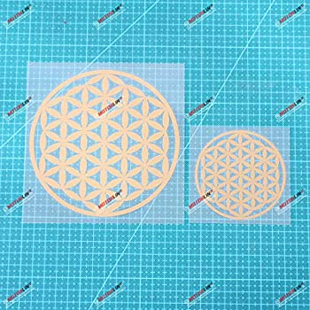 Sacred Geometry Flower of Life Vinyl Decal Sticker - 2 Pack Gold 3 Inches 5 Inches - No Background for Car Boat Laptop Cup