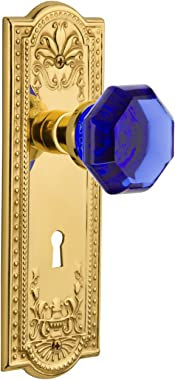 Nostalgic Warehouse 725626 Meadows Plate with Keyhole Privacy Waldorf Cobalt Door Knob in Polished Brass, 2.375