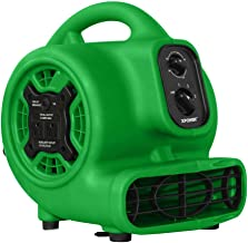 XPOWER P-230AT Multi-Purpose Mini Mighty Air Mover, Utility Fan, Dryer, Blower with Power Outlets and Timer for Restoration, Cleaning, Home and Plumbing Use - 1/5 HP, 800 CFM, 3 Speeds, Green