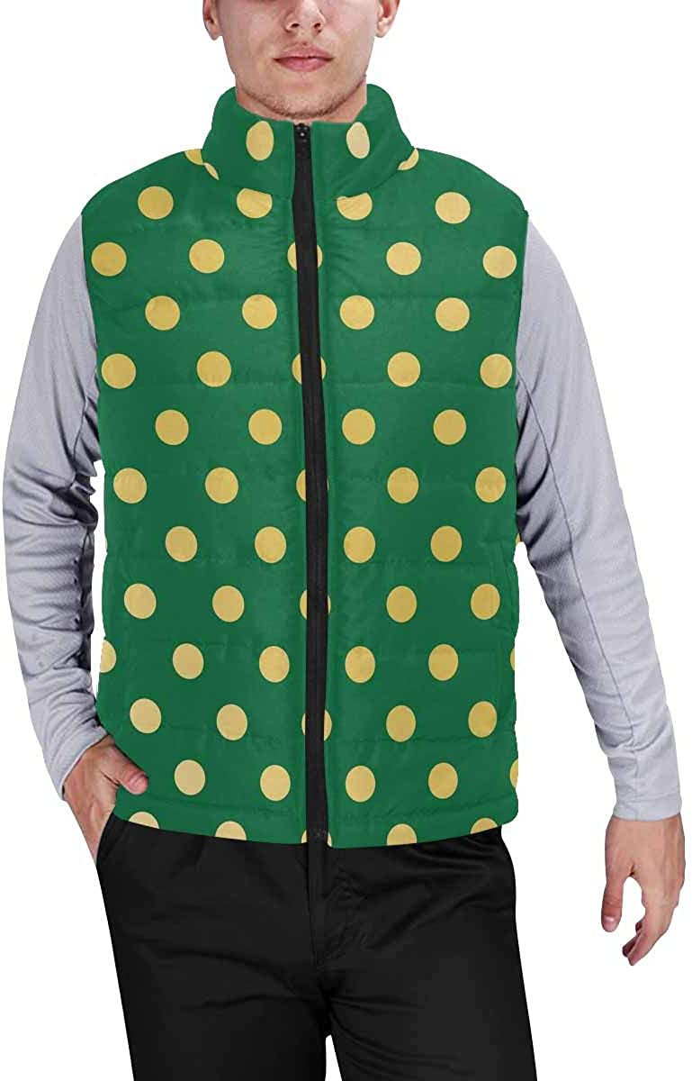 InterestPrint Casual Classic Quilted Sleeveless Vest for Men Christmas Tree Decoration
