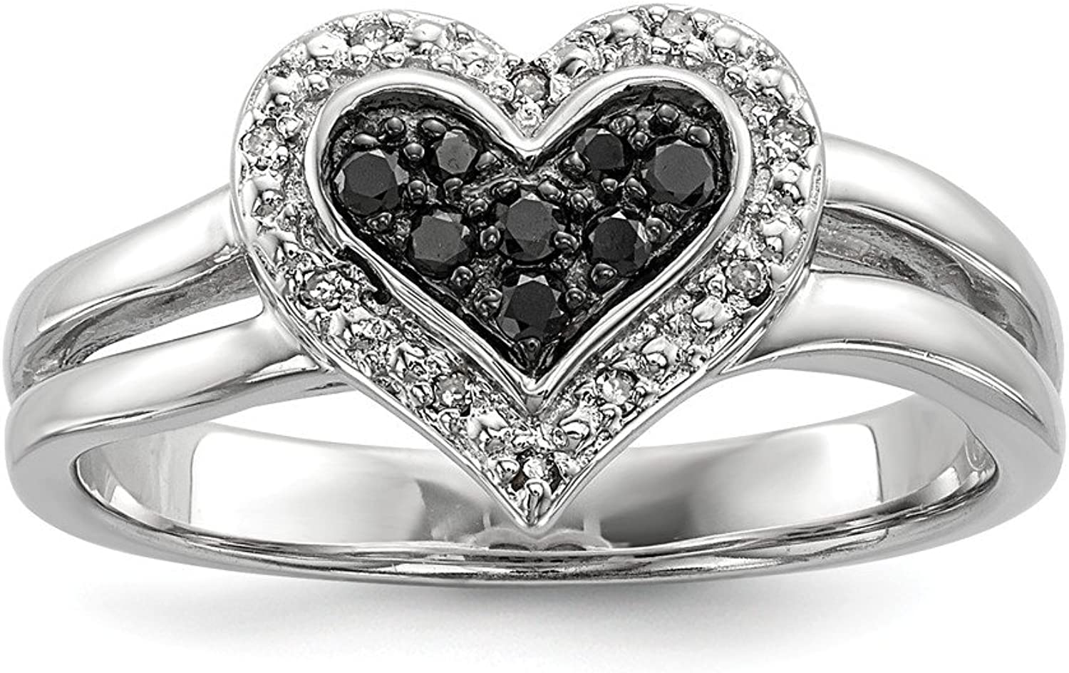 925 Sterling Silver White And Black Diamond Heart Ring (0.13ct)