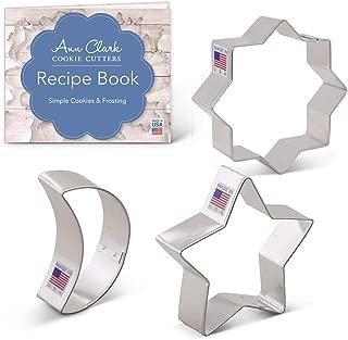 Ann Clark Cookie Cutters 3-Piece Islamic Ramadan Cookie Cutter Set with Recipe Booklet, Islamic Star, Star, Moon