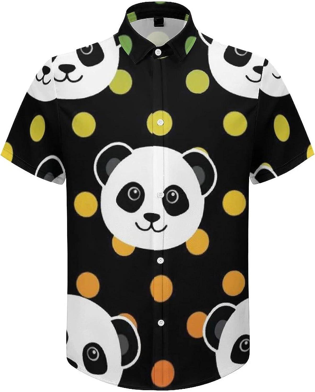 Mens Button Down Shirt Rainbow Cute Panda Casual Summer Beach Shirts Tops