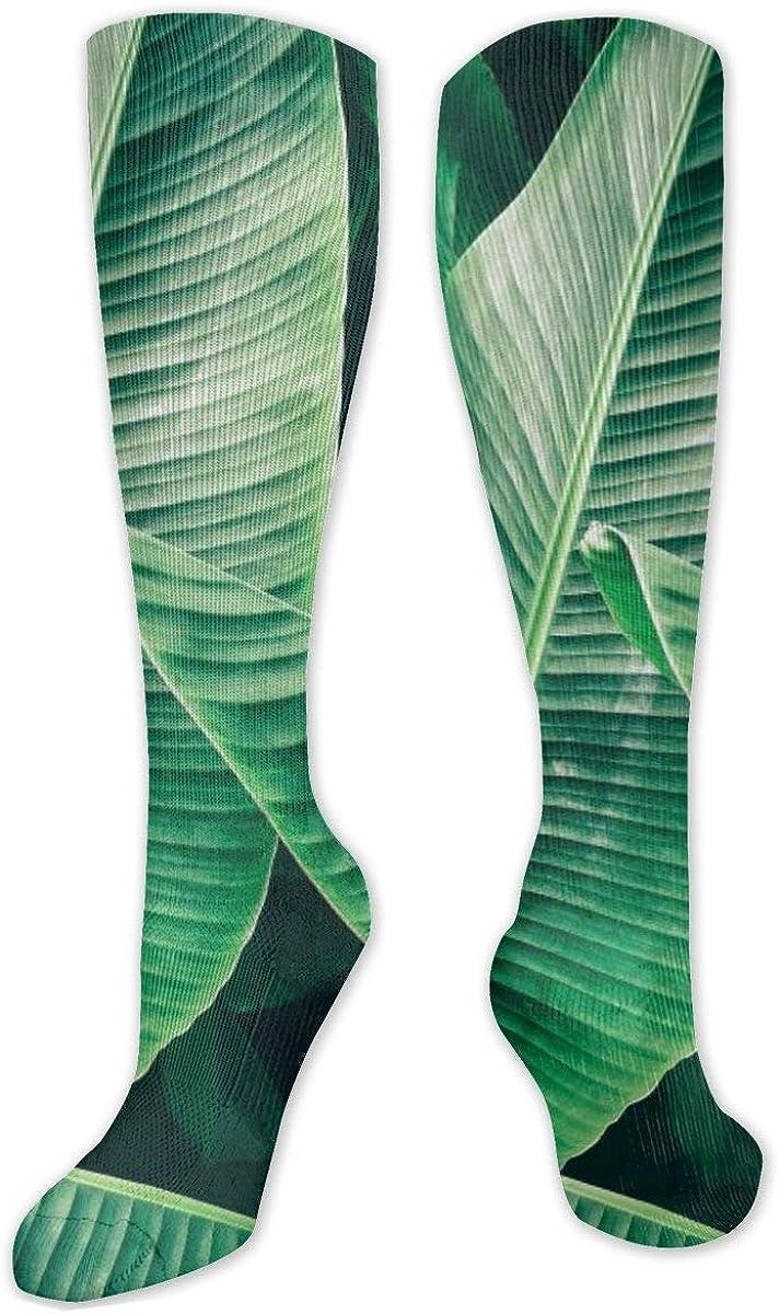 Fresh Green Leaves Knee High Socks Leg Warmer Dresses Long Boot Stockings For Womens Cosplay Daily Wear