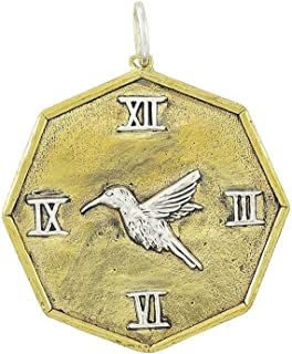 In Time Brass & Sterling Silver Roman Numeral Bird Pendant