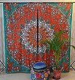 Tradicional Jaipur Star Mandala Cortina Boho Tratamiento de Ventanas Set Puerta Colgante Drape Balcón Sala Bohemia Decoración Cortina Boho Conjunto de 2-82 x 26 Pulgadas Cada uno