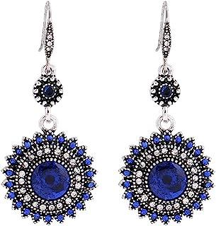 Bokeley Bohemia National Wind Restoring Ancient Ways Sunflower Earrings Ear Studs Jewelry for Women (Blue)