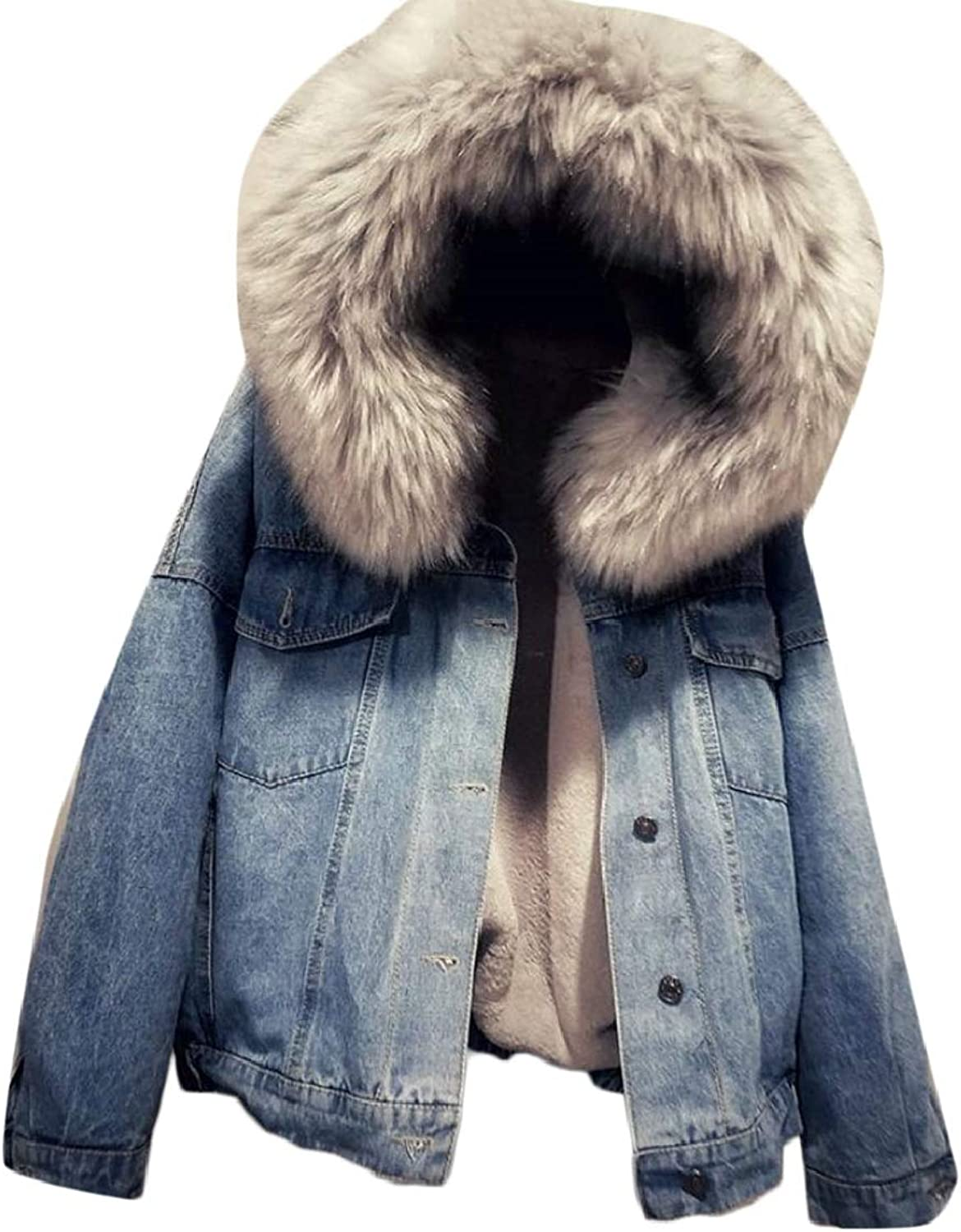Jxfd Women's Winter Hooded Fur Collar Thick Denim Jacket Outerwear Coat