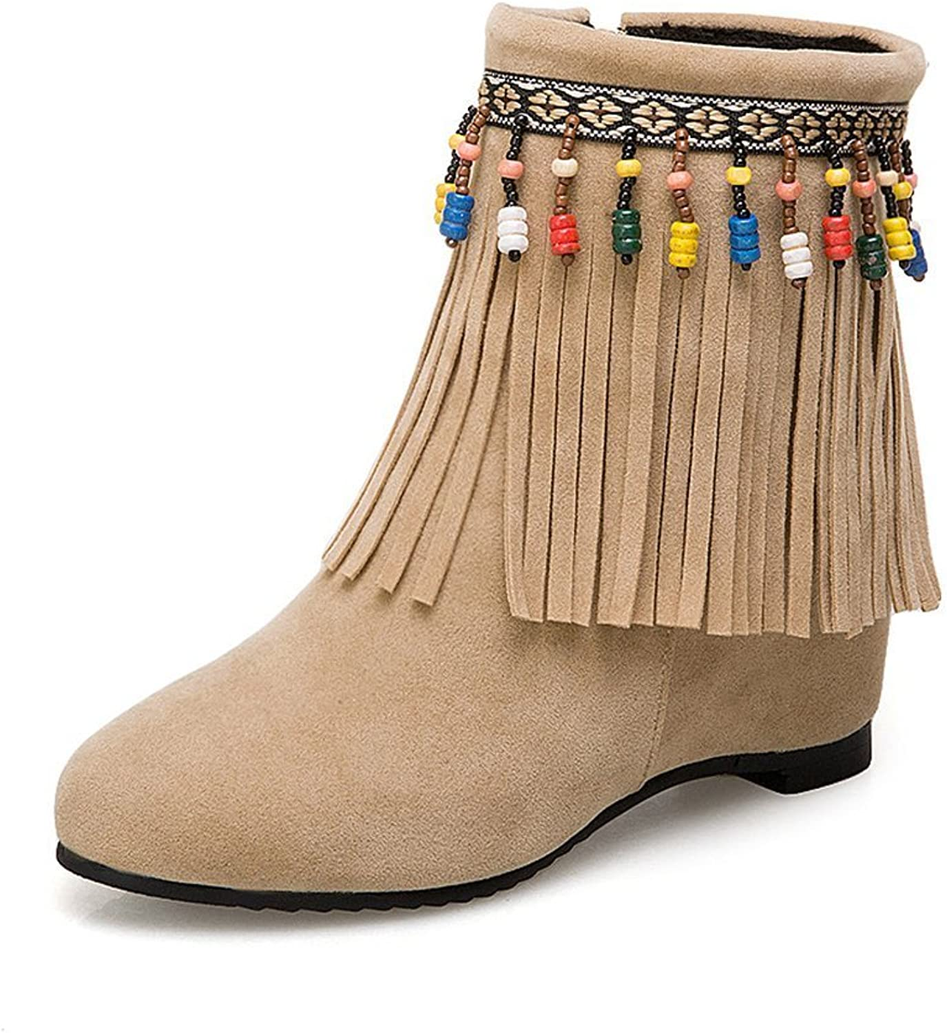 Women's Boots Beaded Tassel Boots Frosted Large Size Women's Boots Autumn Women's shoes Famous Women's Boots Casual Boots