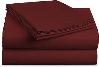 Luxe Bedding Sets - Queen Sheets 4 Piece, Flat Bed Sheets, Deep Pocket Fitted Sheet, Pillow Cases, Queen Sheet Set - Burgundy
