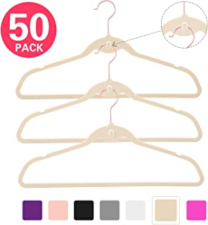 MIZGI Premium Cascading Velvet Hangers (Pack of 50) Heavyduty - Non Slip Hangers with Cascading Hooks Ivory - Copper/Rose Gold Hooks,Space Saving Clothes Hangers (Ivory)