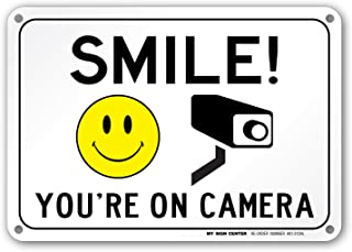 Smile You're On Camera Sign, Area Under Video Surveillance Sign Warning for CCTV Monitoring System, Outdoor Rust-Free Metal, 7