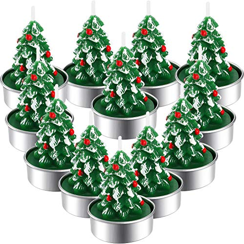 12 Pieces Christmas Tree Tealight Candles Handmade Delicate Tree Candles for Christmas Home Decoration Gifts (Green, White)