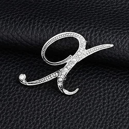 GYZX Fashion 2021 Letter Cute Brooch Women service for Men Rhinestones Silver