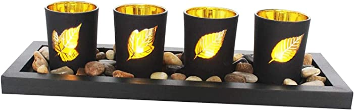 Fenteer Glass Votive Candle Holders - Glass Votive Candle Holders with Wooden Tray for Weddings and Home Decor - Leaf