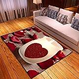 CQIIKJ Alfombra Estampada Vela de Amor Amarillo Claro Rojo Alfombra Antideslizante Alfombra Lavable 160 x 230 cm para la Entrada de casa, baño o Dormitorio Lavandería