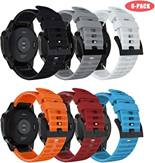 Junboer Compatible Fenix 6 Straps Bands, Quick Fit 22mm Soft Silicone Sport Replacement Band for Fenix 6/Fenix 6 Pro/Fenix 5/Fenix 5 Plus/Forerunner 935/945 (Not Fit Fenix 5X 5S) 6 Pack A