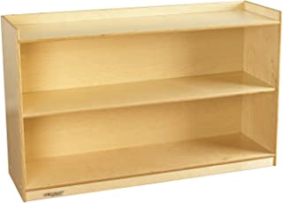 Childcraft 1464171 Adjustable Mobile Book Case with Lip, 2-Shelf, Wood, 47-3/4