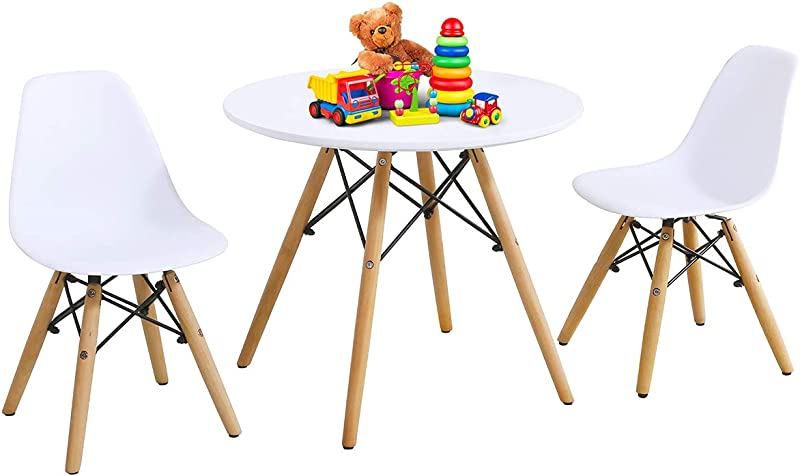 Costzon Kids Table And Chair Set Kids Mid Century Modern Style Table Set For Toddler Children Kids Dining Table And Chair Set 3 Piece Set White Table 2 Chairs