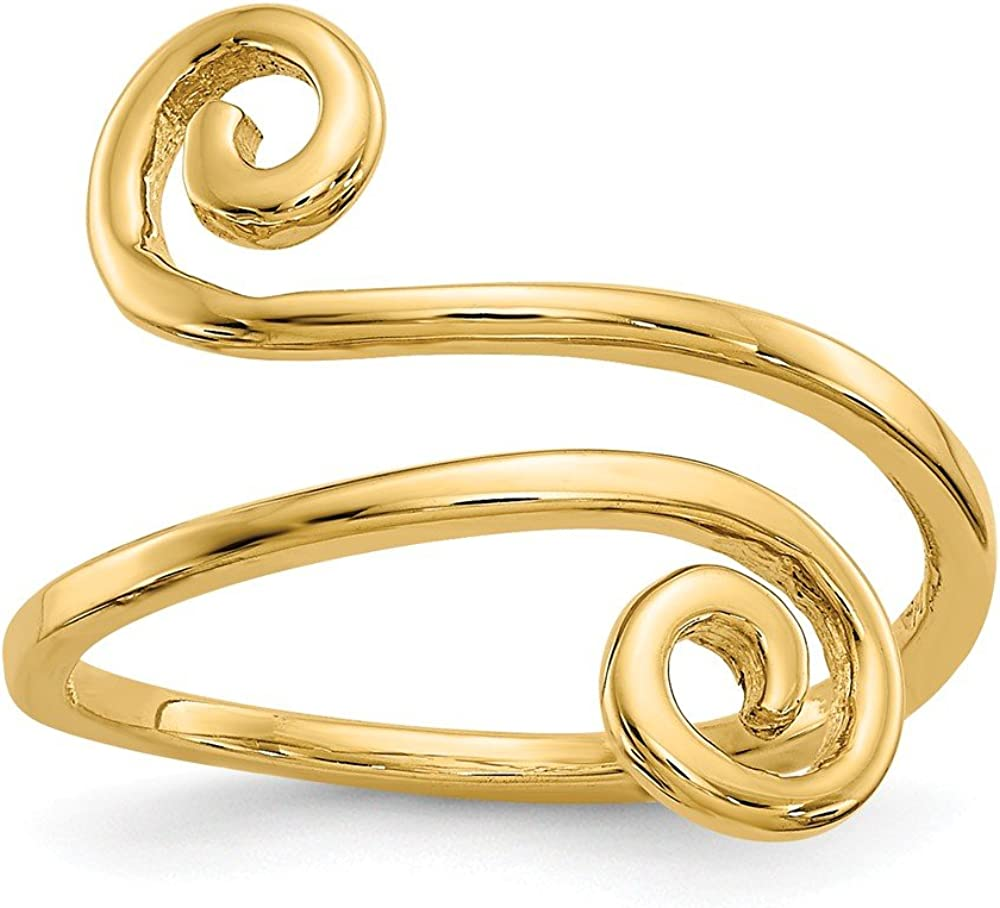 14K Yellow Gold Delicate Double Swirl Toe Ring