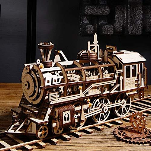 Robotime3D立体パズル木製レーザーカットギアミニチュアオモチャ知育玩具男の子女の子大人入園祝い新年ギフト誕生日クリスマスプレゼント贈り物(ロコモーティブ)