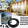 POCKET PANDA Misters for Outside Patio,Fan DIY 49FT, Outdoor Misting System Cooling kit with15 Brass Mister Nozzle for Pool,Umbrella,Trampoline,Deck,Canopy,Porch. Summer Backyard Mist Spray Hose