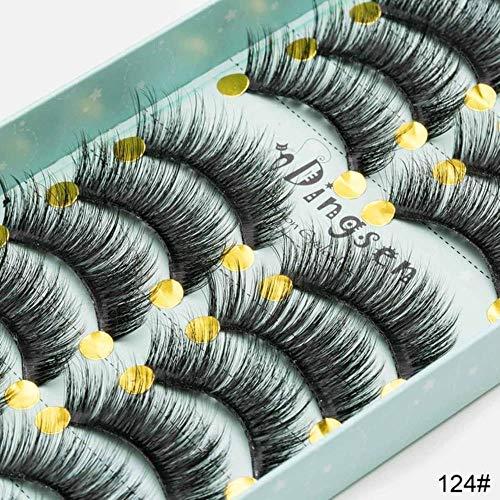 ABO Doux Faux Cheveux de Vison Faux Cils Faux Cils entrecroisés Cils vaporeux Extension Outils de Maquillage 10 Paires, 3D-124