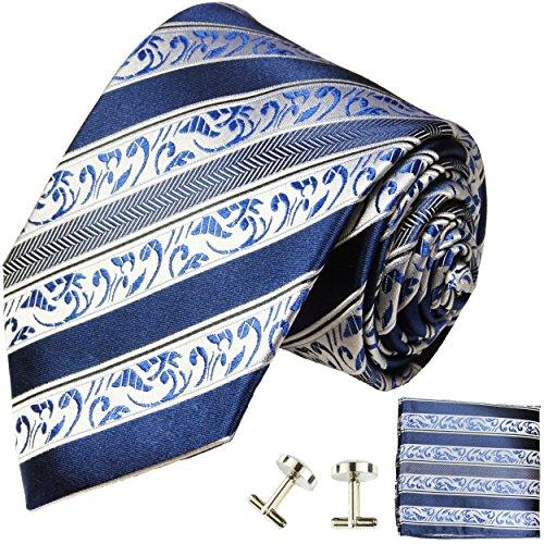 Paul Malone Herren Krawatte blau gestreift Set 3tlg - 100% Seide - Blaue Seidenkrawatte mit Einstecktuch und Manschettenknöpfe