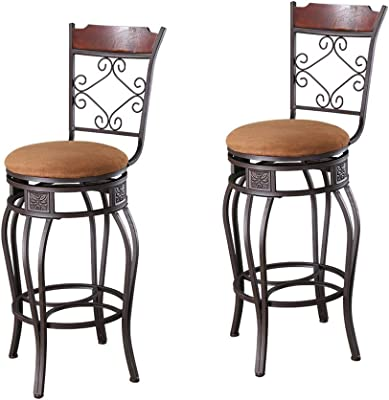 Strange Amazon Com Acme Set Of 2 Tavio Swivel Bar Chair 29 Inch Machost Co Dining Chair Design Ideas Machostcouk