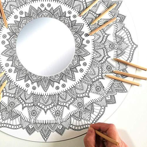 Espejo Mandala Grande de Pared con MADERA para Colorear Adultos y Niños de PAINT&RELAX | Espejo Redondo Ø48cms | Ideales para Decoración del Hogar | Regalo Original | Modelo Fuego.