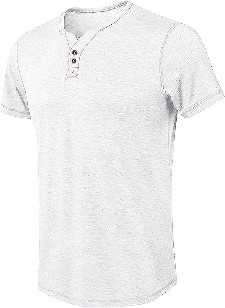 Hongqizo Men Button Neck Henley Shirts Short Sleeve T Shirts Solid Color T Shirts Casual Tops