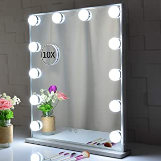 Large Hollywood Vanity Mirror with Lights 62x51.2cm, Tabletop or Wall Mounted Makeup Dressing Beauty Lighted Vanity Mirrors,with a Detachable 10X Magnification Spot Cosmetic Mirror Included(Silver)