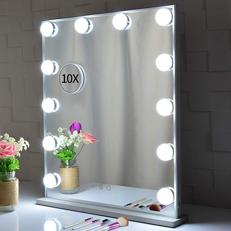 Large Hollywood Vanity Mirror With Lights 62x51 2cm Tabletop Or Wall Mounted Makeup Dressing Beauty Lighted Vanity Mirrors With A Detachable 10X Magnification Spot Cosmetic Mirror Included Silver