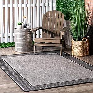 nuLOOM Gris Border Indoor/Outdoor Area Rug, 7′ 6″ x 10′ 9″, Grey