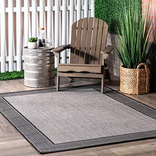 nuLOOM Leila Bordered Indoor/Outdoor Area Rug, 7' 6' x 10' 9', Grey