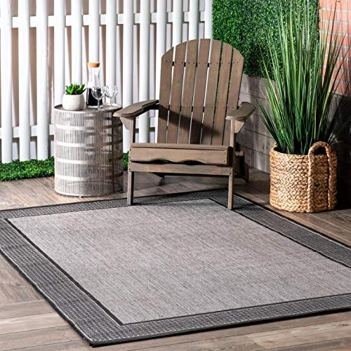 nuLOOM Gris Border Indoor/Outdoor Area Rug, 6' 3' x 9' 2', Grey
