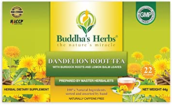 Buddha's Herbs 100% Natural Dandelion Root Tea with Burdock Roots - Digestion and Immune Support - Caffeine Free - Pack of...