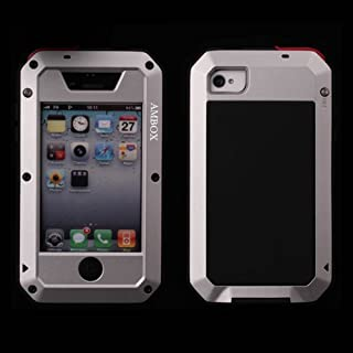 iPhone 4 Case, iPhone 4S Case, Ambox Waterproof Shockproof Dust/Dirt Proof Aluminum Metal Military Heavy Duty Protection Cover Case for Apple iPhone 4 4S (Silver)