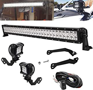30 Inch 180W LED Front Windshield Straight Light Bar Mount Bracket Kit and 4 Inch 18W Side Pillar Roll Cage LED Light Pods Mount Bracket w/Rocker Switch Wire Kit Fit for Polaris RZR XP 1000 900