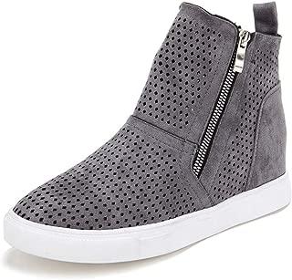 Women Platform Sneakers, Closed Toes Wedge Shoes High Top Sports Shoes Zipper Flat Heel Booties