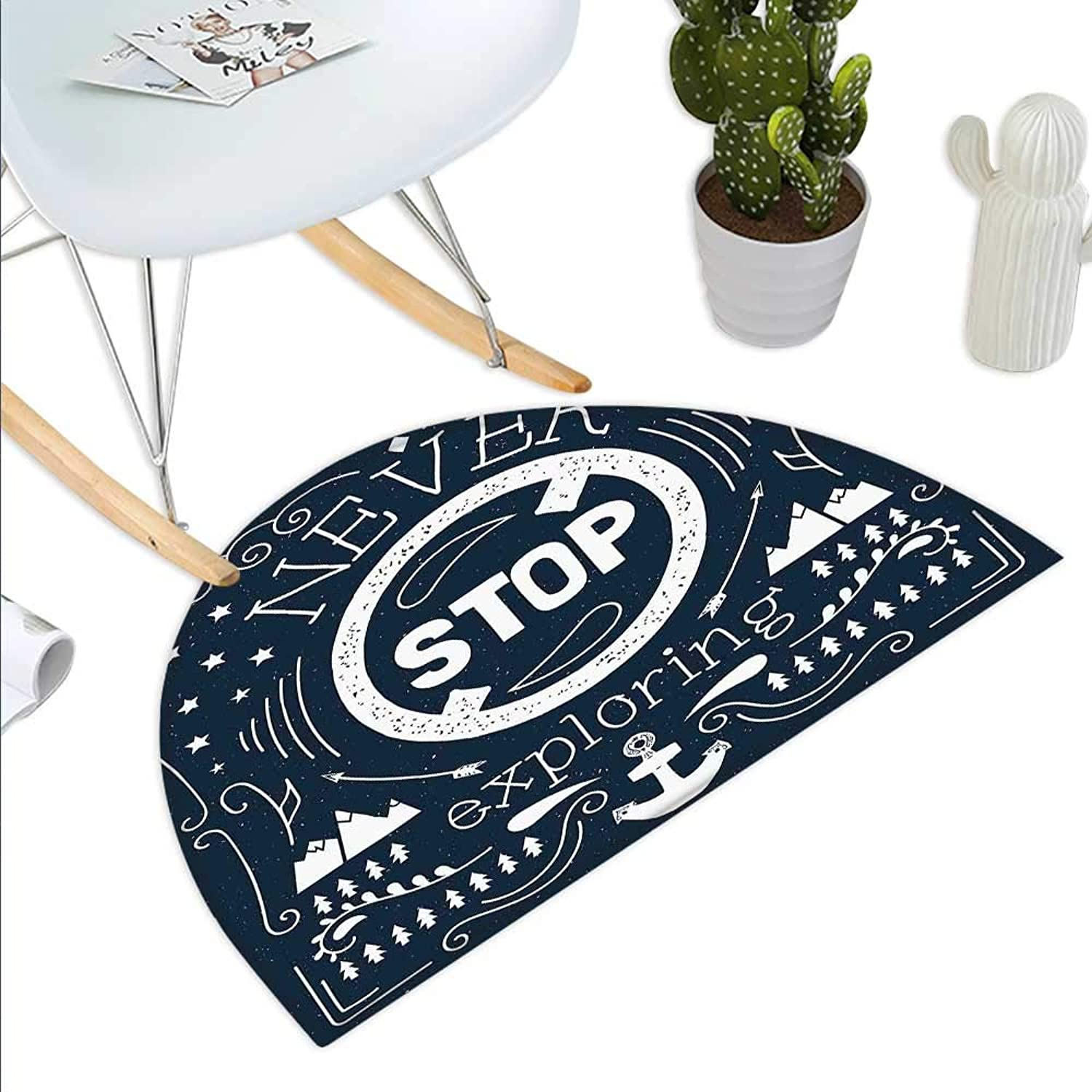 Quote Semicircle Doormat Anchor and Star Silhouette with Never Stop Exploring Slogan on Dark Backdrop Halfmoon doormats H 43.3  xD 64.9  Dark bluee and White
