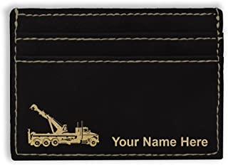 Money Clip Wallet, Tow Truck Wrecker, Personalized Engraving Included (Black)